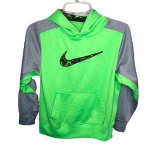 Nike Boy's Gray & Neon Green Hoodie - YM